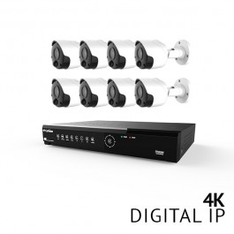 8 Channel 4K UHD Digital NVR System with 8x 4K PIR IP Bullet Cameras