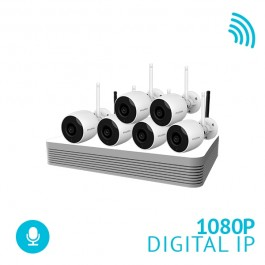 8 Channel 500ft Range Wireless Auto-Pair NVR System with 6x 1080P Bullet WiFi IP Cameras
