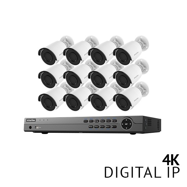 16 Channel 4K NVR H.265 2 SATA Security System with 12x 4K HD IP 4mm Cameras with 3TB HDD