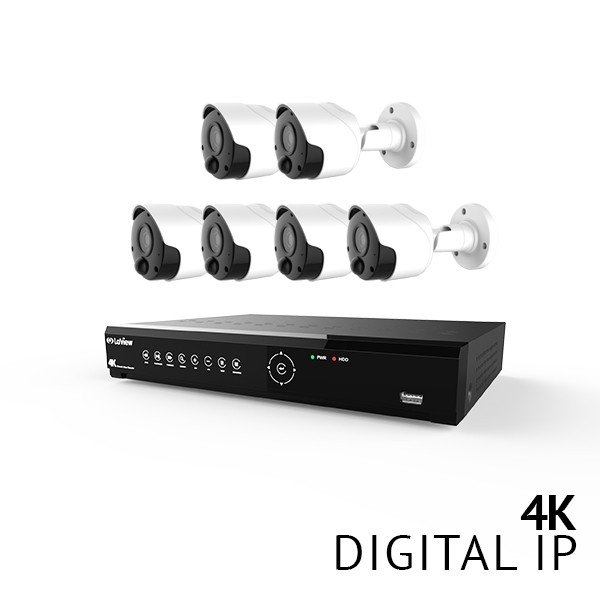 8 Channel 4K UHD Digital NVR Security Camera System with 6x 4K 8MP Bullet IP Thermal Detection PIR Color Night Vision Bullet Cameras