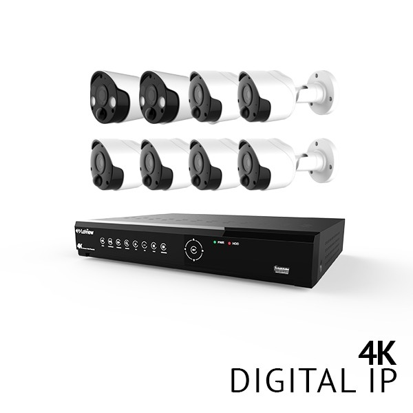 8 Channel 4K UHD Digital NVR Security Camera System with 6x 4K 8MP Color Night Vision Bullet and 2x 4K 8MP Active Defense Strobe Light Thermal Detection PIR IP Bullet Audio Cameras