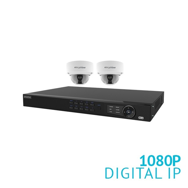 4CH POE NVR with 2x 2MP Dome IP Camera DIY Security System, 2.8mm Wide Viewing Angle Lens, Plug & Play, IK10, IP67, Free Mobile App, 1TB HDD