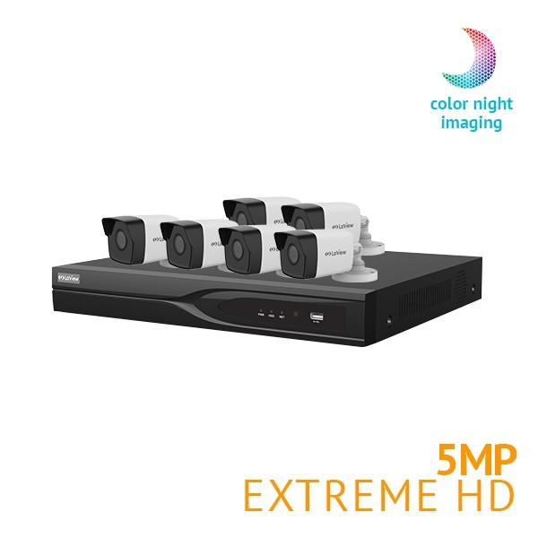 ​8 Channel DVR Security System with 6x Extreme HD 5MP  Starlight Full Color Night Vision cameras