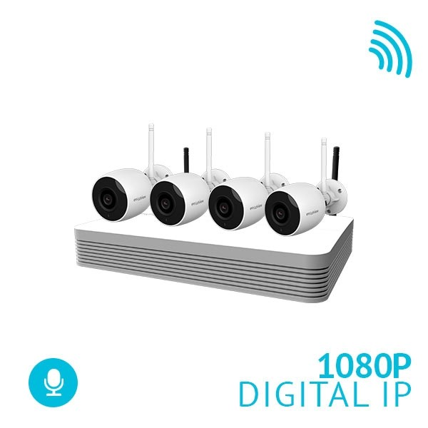 4 Channel WiFi NVR Security System with 4x 1080P Bullet WiFi IP Cameras