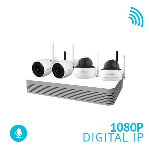 8 Channel WiFi NVR Security System with 2x 1080P Bullet and 2x 1080p Dome WiFi IP Cameras