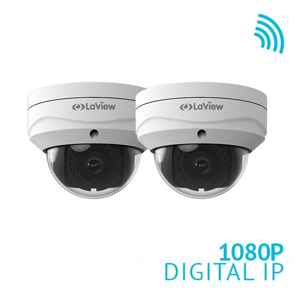 2x 1080P WiFi IP Dome Camera 2.8mm IP67 IK10 2.4G WiFi and PoE built-in