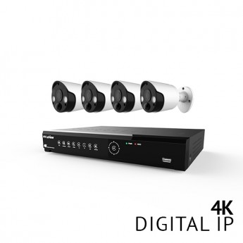 8 Channel 4K UHD Digital NVR Security Camera System with 4x 4K 8MP Active Defense Strobe Light Thermal Detection PIR IP Bullet Color Night Vision Audio Cameras