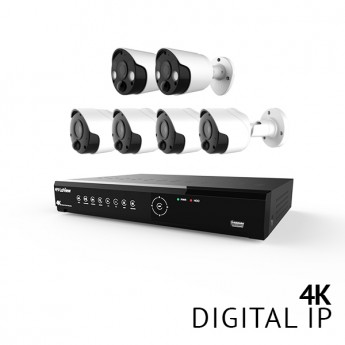 8 Channel 4K UHD Digital NVR Security Camera System with 4x 4K 8MP Bullet and 2x 4K 8MP Strobe Light Bullet IP Cameras