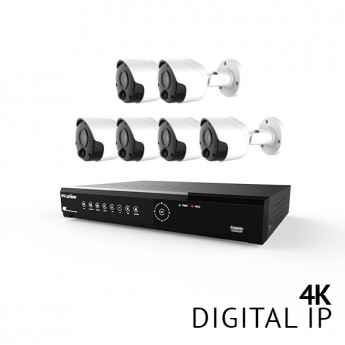 8 Channel 4K UHD Digital NVR Security Camera System with 6x 4K 8MP Bullet IP Cameras