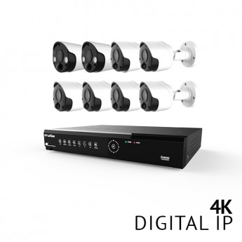 8 Channel 4K UHD Digital NVR Security Camera System with 6x 4K 8MP Bullet and 2x 4K 8MP Strobe Light Bullet IP Cameras