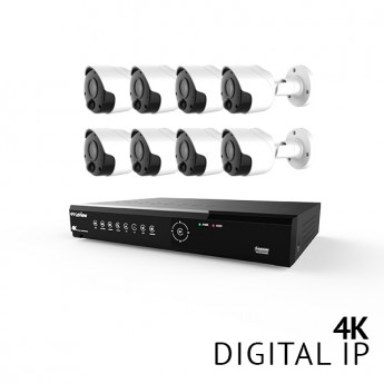 8 Channel 4K UHD Digital NVR Security Camera System with 8x 4K 8MP Bullet IP Thermal Detection PIR Color Night Vision Bullet Cameras