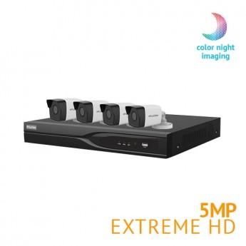 ​8 Channel DVR Security System with 4x Extreme HD 5MP  Starlight Full Color Night Vision cameras