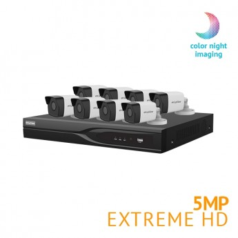 ​8 Channel DVR Security System with 8x Extreme HD 5MP Starlight Full Color Night Vision cameras