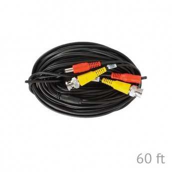 BNC and DC 60ft  Premade RG-59 Siamese Cable