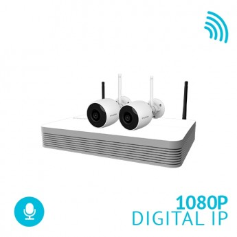 4 Channel WiFi NVR Security System with 2x 1080P Bullet WiFi IP Cameras