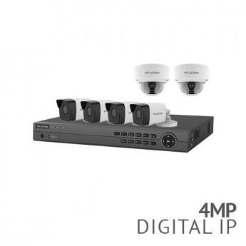 8 Channel 4K NVR Security System with 6x 4MP HD IP Cameras, 4x Bullet, 2x Dome