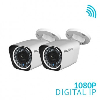 2x 1080P HD WiFi IP Bullet Camera 2.4G WiFi and PoE Built-in