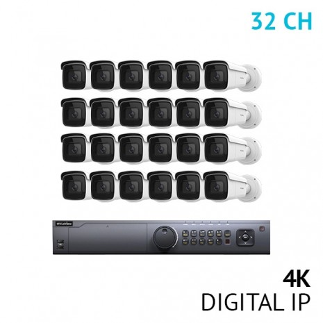32 Channel 4K NVR Security System with 24x 4K UHD Varifocal Bullet IP Cameras