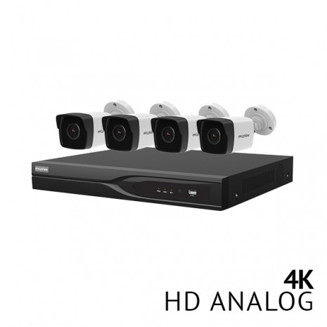 8 Channel DVR Security System with 4x Ultra HD 4K color night vision metal bullet cameras