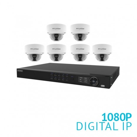 8 Channel NVR with 6x 1080P Dome IP Cameras