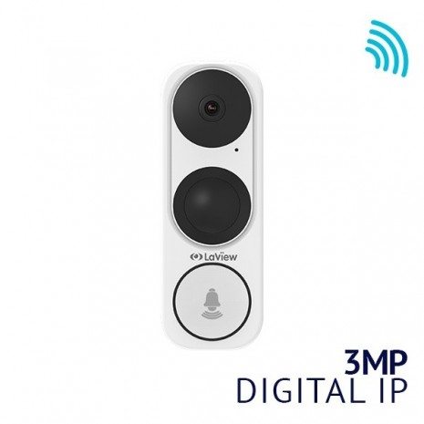 ONE Halo 3MP 2K HD Smart Video IP Doorbell Camera WiFi 5GHz, 180° Vertical FOV, IP65, Starlight Color Night Vision, PIR Thermal Detection, 8-24VAC - 2nd Generation